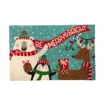 "18""x28"" ""Be Merry & Bright"" North Pole Friends Coir Door Mat"