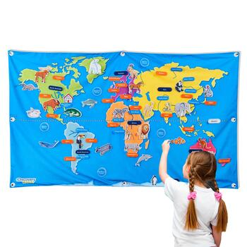 "Discovery Kids™ 55"" Fabric World Map on"