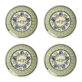 Polish Pottery Blue Flowers Basketweave Salad Plates, Set of 4 view 1