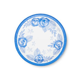 "Cool Blue Floral 7"" Paper Plates 40-Count view 1"