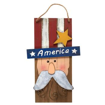 "24"" ""America"" Uncle Sam Wood and Metal Wall Hanging Sign"