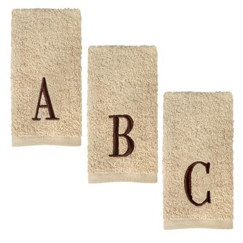 Block Letter Embroidered Monogram Fingertip Towels, Set of 2