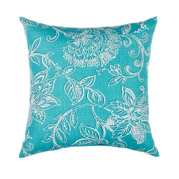 Turquoise Floral Jacquard Square Throw Pillow view 1