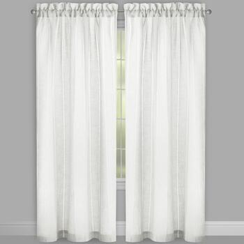 Solid Hemstitch Stripe Rod Pocket Window Curtains, Set of 2 view 2