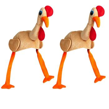 Plush Turkey Hat with Dangling Legs, Set of 2