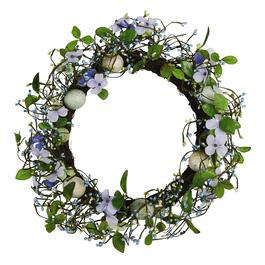 Blue Flowers and Speckled Eggs Wreath