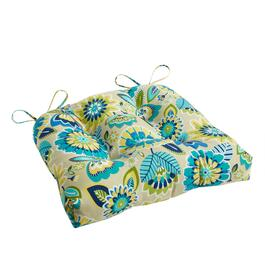 Yellow/Blue Floral Indoor/Outdoor Single-U Seat Pad