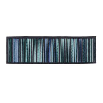 Blue/Green Stripe All-Weather Area Rug view 2 view 3 view 4