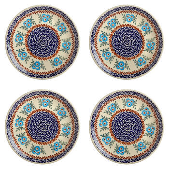 Polish Pottery Blue Floral Link Salad Plates, Set of 4 view 1