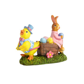 "6"" Chick & Bunny with Eggs in Basket Decor view 1"