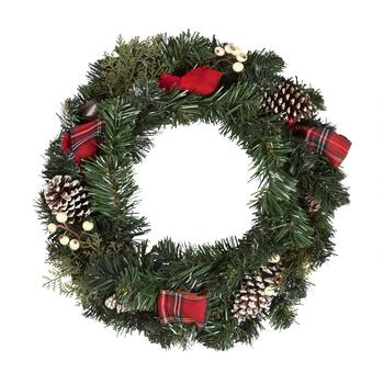 "22"" Snowy Pinecone Plaid Ribbon Artificial Wreath"