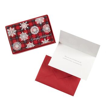 14-Count Plaid Snowflakes Holiday Cards, Set of 2