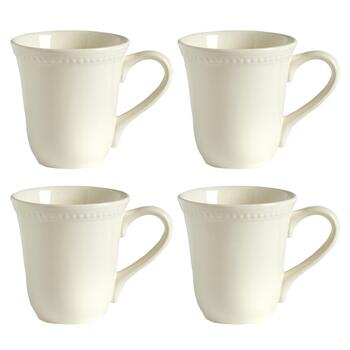 White Hobnail Bone China Mugs, Set of 4