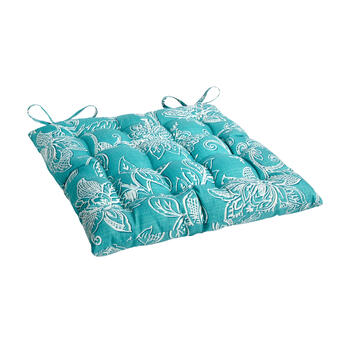 Turquoise Floral Jacquard Indoor/Outdoor Tufted Square Seat Pad view 1