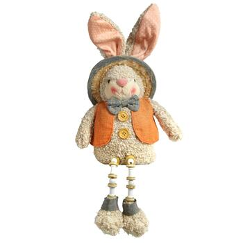 Orange Vest Sitting Bunny with Dangling Legs