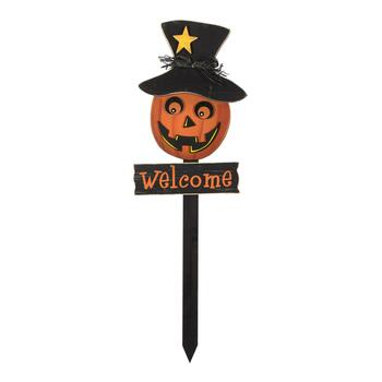 "36"" ""Welcome"" Jack-O-Lantern Wood Garden Stake"