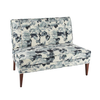 Tufted Settee with Print Upholstery view 1