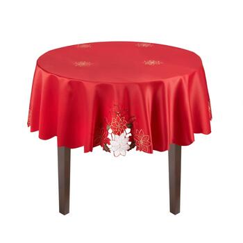 Red/White Poinsettia Cutwork Tablecloth view 2