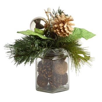 Gold Pinecone Glass Jar Centerpiece