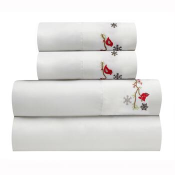 Debbie Mumm® Embroidered Cardinals Sheet Set