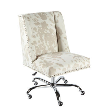 Cow Upholstery Rolling Office Chair with Nailheads view 1