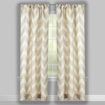 Tan Chevron Window Curtains, Set of 2 view 2