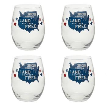"""Land of the Free"" Stemless Wine Glasses, Set of 4"