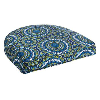 Blue/Green Medallions Indoor/Outdoor Gusset Seat Pad