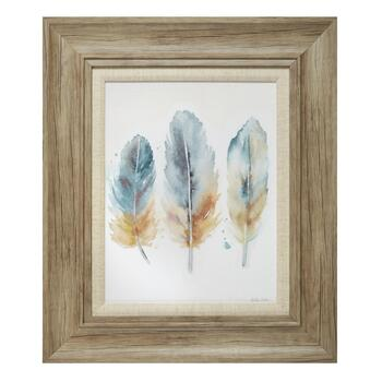 "19""x22"" Feathers Textured Framed Wall Art"