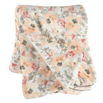 Gray/Peach Floral Velvet Berber Throw view 1