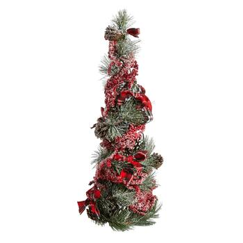"19"" Snowy Red Berries and Bows Pinecone Tree"