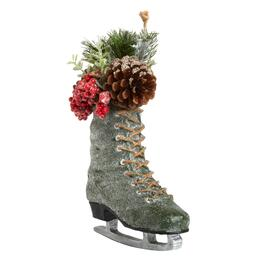 95 hanging ice skate with pinecone greenery
