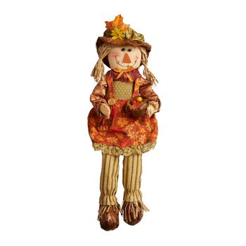 "15"" Scarecrow Girl Sitter With Dangling Wood Legs"