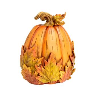 "9"" Poly Resin Pumpkin with Leaves"
