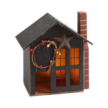 "8.25"" Black Lighted Wood Holiday Chimney House view 1"