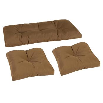 Solid Brown Indoor/Outdoor Seat Pad Set, 3-Piece