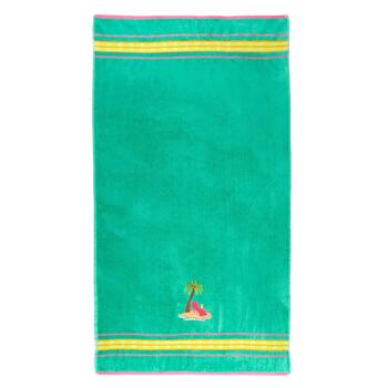 Palm Tree Applique Oversized Green Beach Towel
