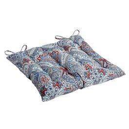 Paisley Blue Indoor/Outdoor Tufted Square Seat Pad