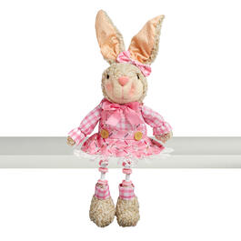 "18.5"" Pink Dress Sitting Bunny with Dangling Legs view 1"