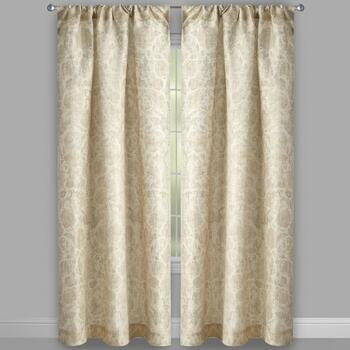 Raphaelle Leaf Damask Rod Pocket Window Curtains, Set of 2 view 2