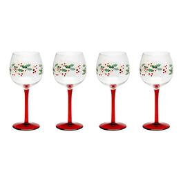 Painted Holly Balloon Wine Glasses, Set of 4