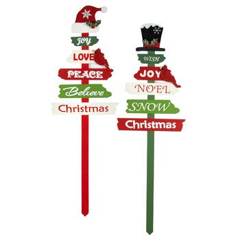 "36"" ""Joy"" and ""Wish"" Typography Yard Stakes, Set of 2"