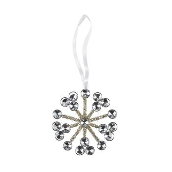 Clear/Gold Beaded Snowflake Ornaments, Set of 6