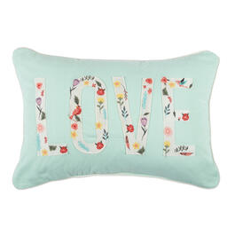 "Mint Floral ""Love"" Oblong Throw Pillow view 1"