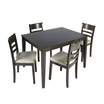 Charcoal Gray Ladderback Dining Table and Chairs Set, 5-Piece