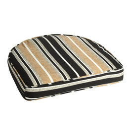 Beige/Black Stripe Indoor/Outdoor Gusseted Seat Pad view 1