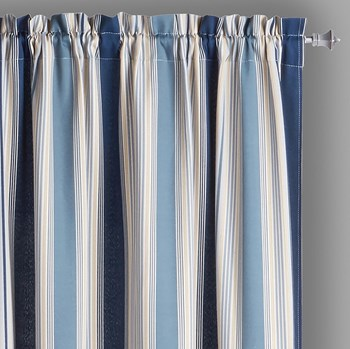 Traditions by Waverly® Indigo Multi-Stripe Window Curtains, Set of 2