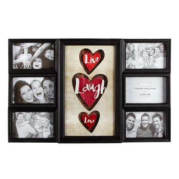 """Live, Laugh, Love"" 6-Opening 3D Glass Photo Frame Wall Collage"