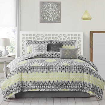 Celia Geometric Floral Reversible Comforter Set, 7-Piece view 1