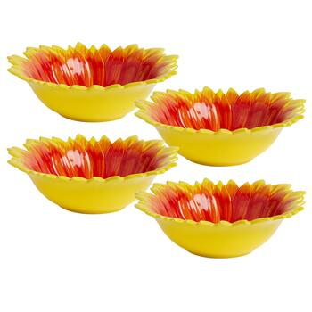Red/Yellow/Brown Sunflower Ceramic Soup Bowls, Set of 4 view 2